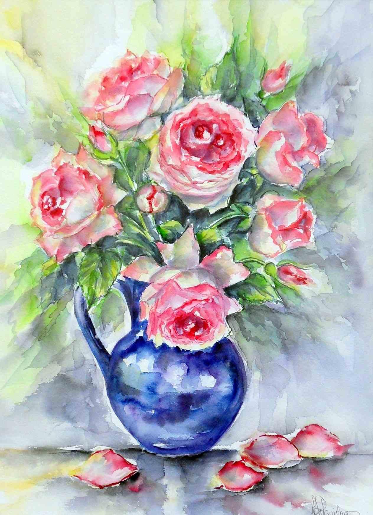 Bouquets de fleurs dans vase bleu bb04200 for Aquarelle fleurs
